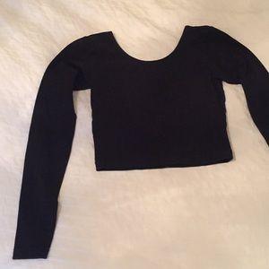 American apparel black long sleeves crop top